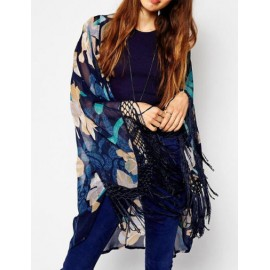 Stunning Floral Printed Shawl Neck Kimono with Tassel Edge