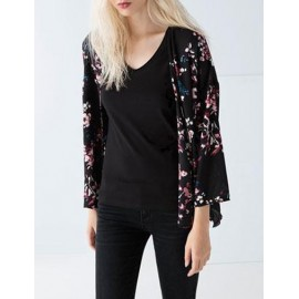 Slouchy Floral Printed Open Front Kimono with Wild Sleeve