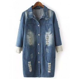 Street Style Four Pockets Longline Denim Jacket with Ripped Size:M-L