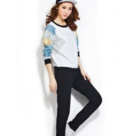 Cosy Cartoon Print Splicing Sweatshirt and Pants M-2XL