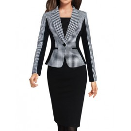 OL Houndstooth Printed Lapel Collar Slim Blazer with Single-Button