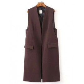 Modish Flap Pocket Longline Sleeveless Blazer with Open Front