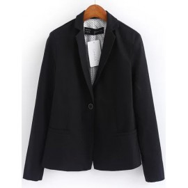 Celebrity Lapel Collar Long Sleeve Black Blazer with Pockets