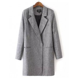 Collegiate Lapel Collar Three Quarter Blazer in Gray
