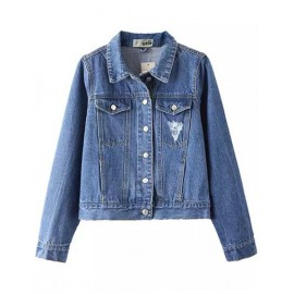 Classic Denim Cropped Jacket with Twins Pockets Size:S-XL