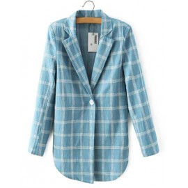 Boyfriend Checked Printed Curve Hem Denim Blazer with Lapel Collar