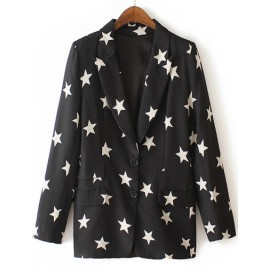Fashionable Star Printed Lapel Collar Blazer in Monochrome