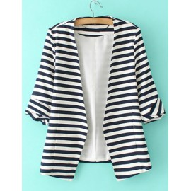 Casual Stripe Printed Short Sleeve Blazer in Two Tone