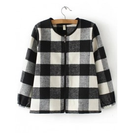 Korean Style Plaid Boxy Jacket with Zipper Closure Size:S-L