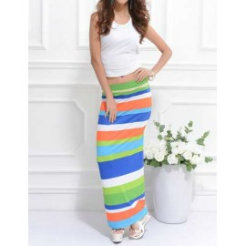 White Tank Top and Color Block Strip Slinky Pencil Skirt