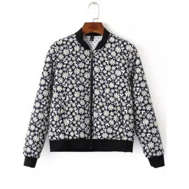 Casual Quilted Bomber Jacket in Daisy Print Size:S-L