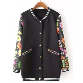 Boyfriend Style Longline Baseball Jacket with Floral Sleeve Size:S-L