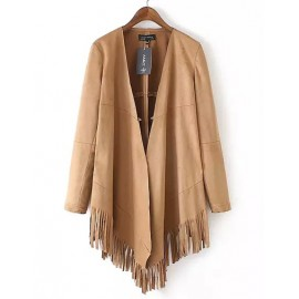 Fashionable Long Sleeve Open Front Suede Jacket with Tassel Hem Size:S-L