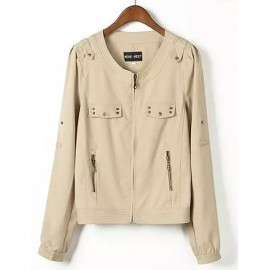 Concise Round Neck Pure Color Jacket with Stud Trim Size:S-L