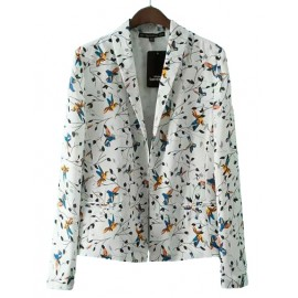 Charming Birds Print Slim Fit Blazer