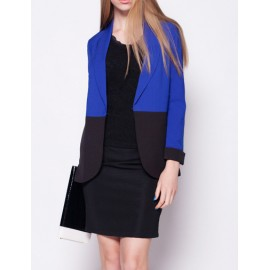 Trendy Color Block Midi Length Blazer in Slim Fit