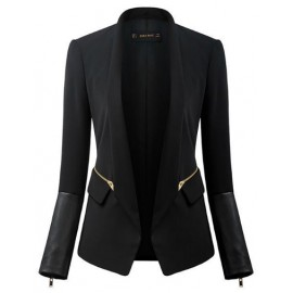 Unique PU Panel Zipper Blazer in Slim Fit