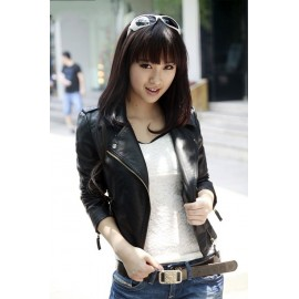 NEW Hot Sale Slim Women's Jacket Coat Faux Leather Motorcycle Black Outerwear