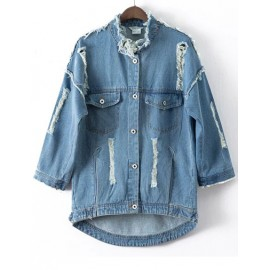 Distressed Longline Denim Jacket with Number Printed Back Size:S-L