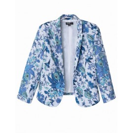 Vintage Print 3/4 Sleeve Blazer in Slim Fit