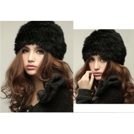NEW REAL RABBIT faux FUR Knitted HAT CAP Women Winter Hight quality warm fashion