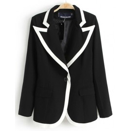 Unique Color Block Slim Fit Blazer in Flap Pockets