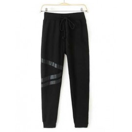European Ruched Drawstring Trim Pants with PU Stripe