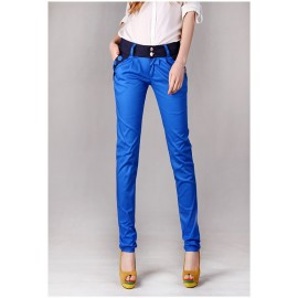 Women Fashion Korea Style Casual Slim Candy Color Contrast Color Patchwork Long Pencil Trouser Harem Pants