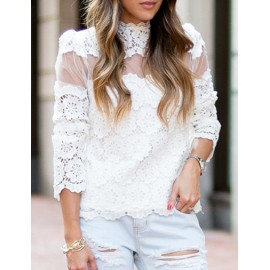 Sweet 3/4 Sleeve Lace Crocheted Tee in White