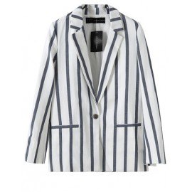 Loose Stripe Lapel Coat in Slit Trim