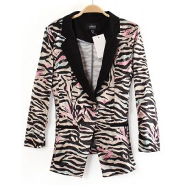 Glamours Zebra Striped Single Button Blazer in Slim Fit