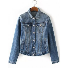 Retro Style Washed Denim Jacket with Turn Down Collar Size:S-L