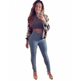 Fall Autumn Winter Hot Fashion Women Sexy High Waist Jeans Skinny Pants Denim Trousers