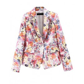 Vintage Floral Print Blazer in Double Breasted
