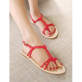 Laconic Buckle Deisgn Flat Heel Thong Sandals Size:35-39