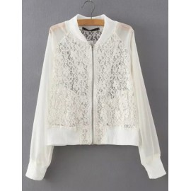 Chic Lightweight Jacket with Lace Panel Size:S-L
