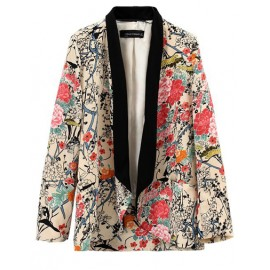 Beauty Floral Coat in Color Block Trim