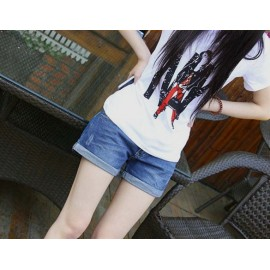 Korea Fashion Women's Straight Type Curling Jeans Shorts
