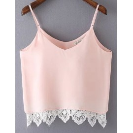 Sexy Basic Lace Panel Hem Tank Top with V-Neck
