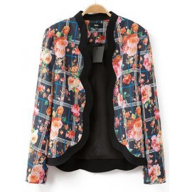Attractive Flower Print Scalloped Trim Blazer in Slim Fit