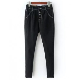 Unique Elastic Waist Button Trim Denim Pants Size:M-L