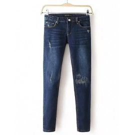 Unique Elastic Waist Button Trim Denim Pants Size:S-XL