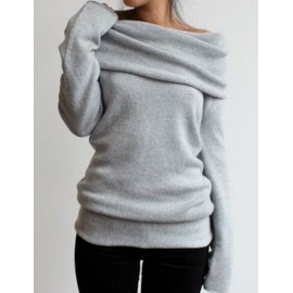 Casual Cowl Neck Long Sleeve Tops in Pure Color