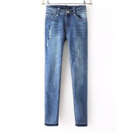 Fashionable Slinky Denim Pants in Ripped Trim Size:S-XL