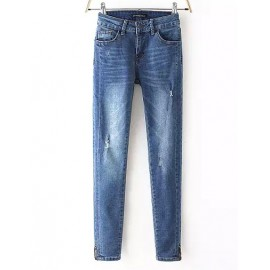 Cool Bleached Ripped Slinky Jeans in Zipper Trim Size:S-XL