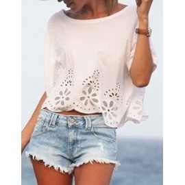Sweet Floral Cutwork Scallop Hem Chiffon Tee in White