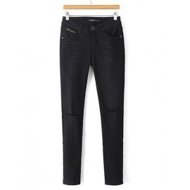Street Split Trim Washed Skinny Jeans in Black Size:S-XL