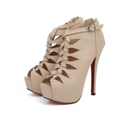 Stylish Peep Toe Cut-Out High Heel Shoes in Pure Color For Women Size:34-39