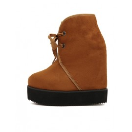 Stylish Lace-Up Boots with Hidden Wedge Heel For Women Size:34-39