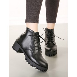 Classic Almond Shaped Toe Martin Boots in Black Size:35-39